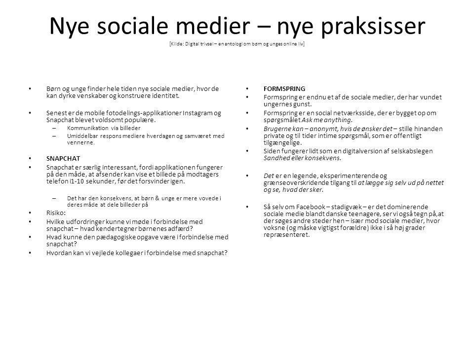 Nye sociale medier – nye praksisser [Kilde: Digital trivsel – en antologi om børn og unges online liv]
